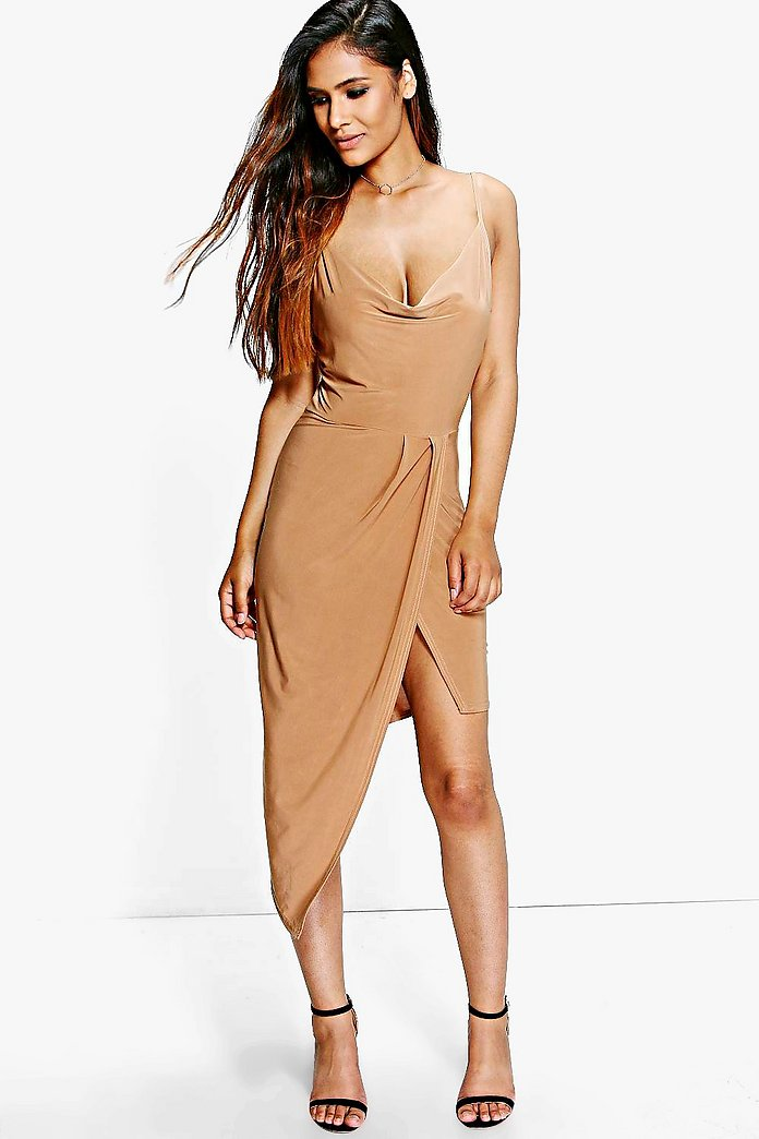 Abi Slinky Cowl Wrap Detail Midi Dress