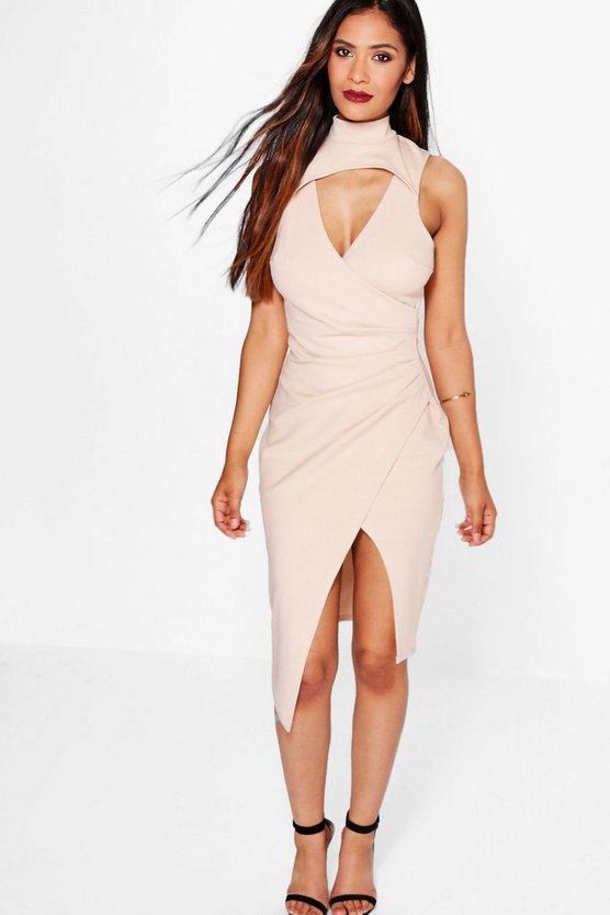 Stassie Cut Out Detail Wrap Skirt Midi Dress