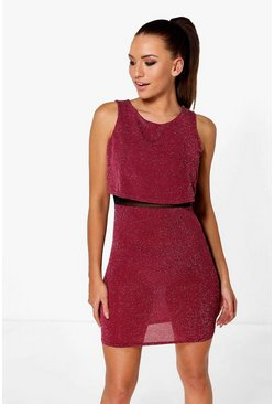 Saffy Metallic Double Layer Bodycon Dress