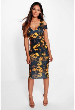 Malika Open Shoulder Dark Floral Midi Dress