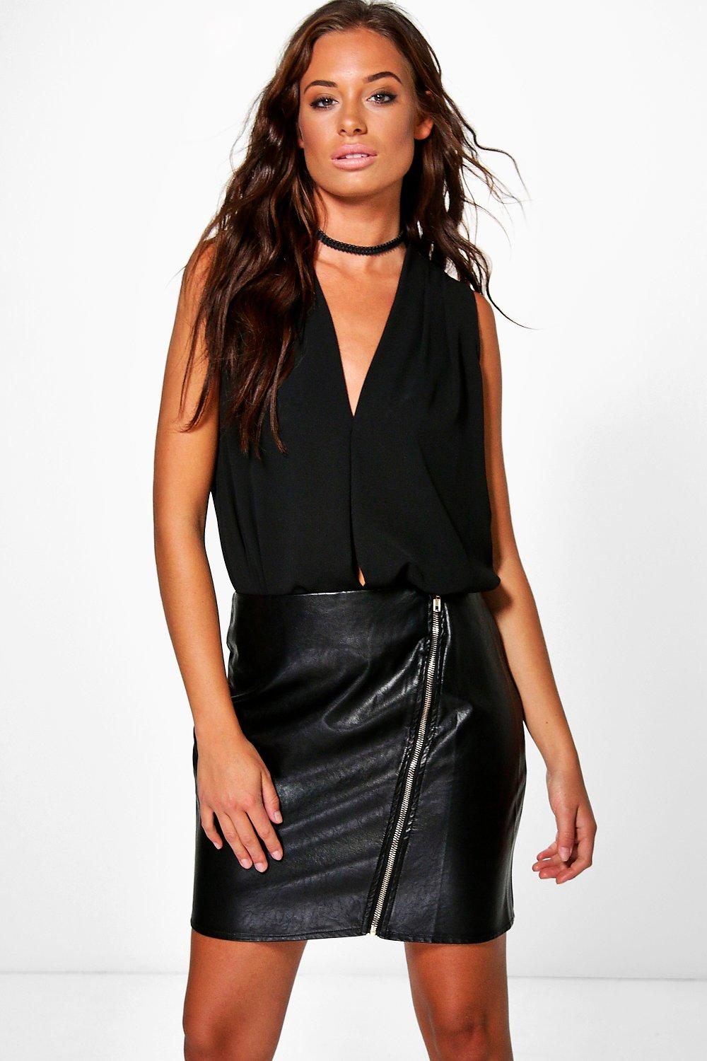 Serena Leather Look Zip Front Skirt