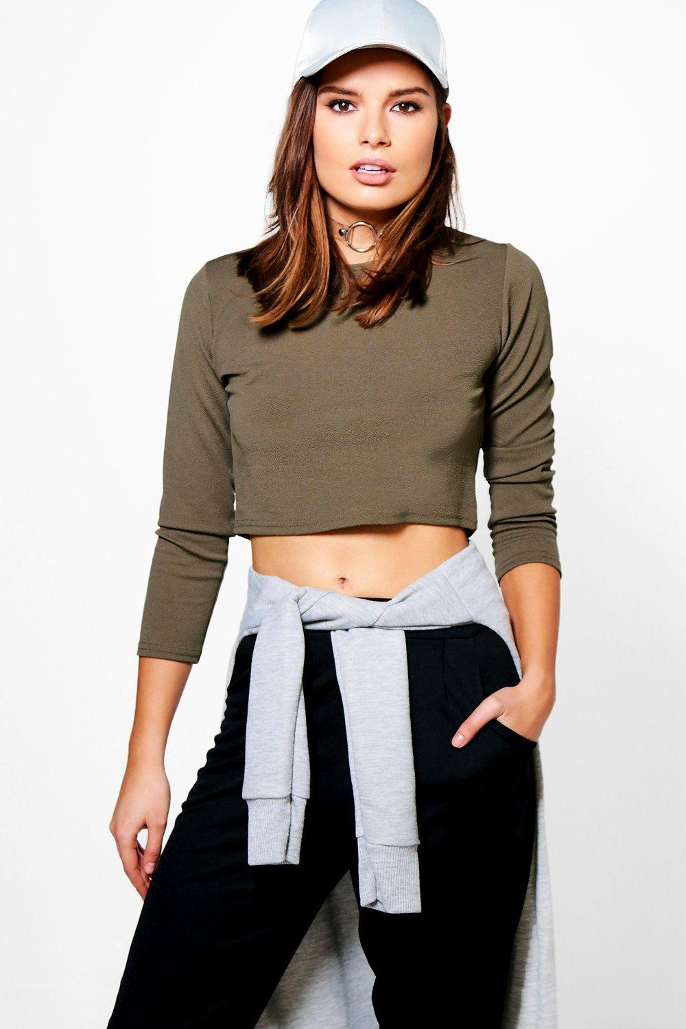Leah Long Sleeve Crepe Crop