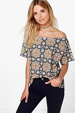 Eloise Tile Print Slash Neck Tee