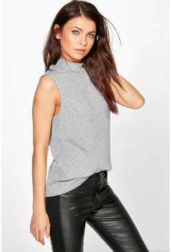 Clare Grey Ribbed Roll Neck