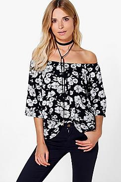 Lauren Floral  Printed Off Shoulder Top