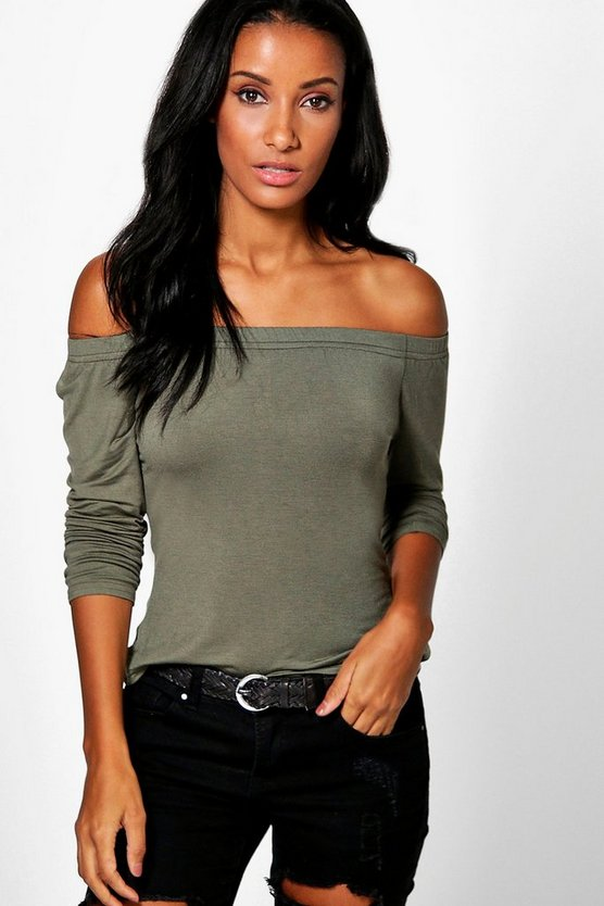 Abigail Basic Long Sleeve Bardot