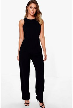 Jen Round Neck Textured Jumpsuit