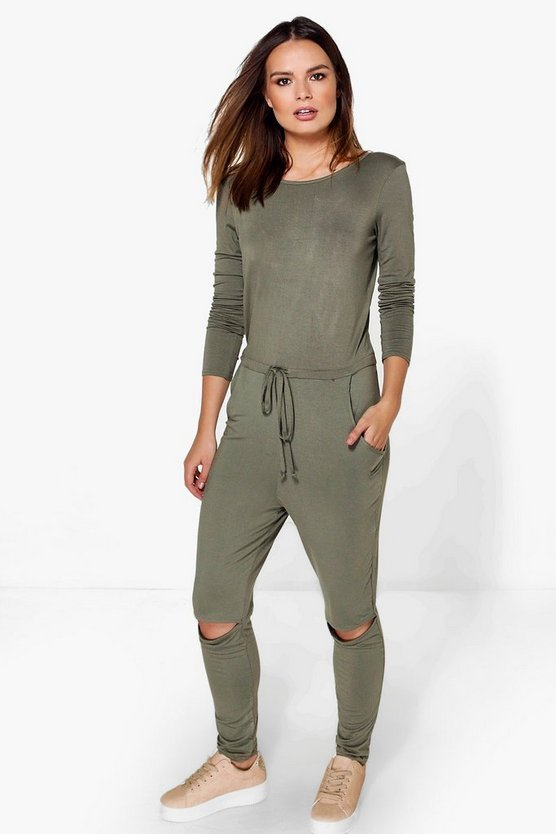 Lois Long Sleeved Slit Knee Relaxed Fit Jumpsuit