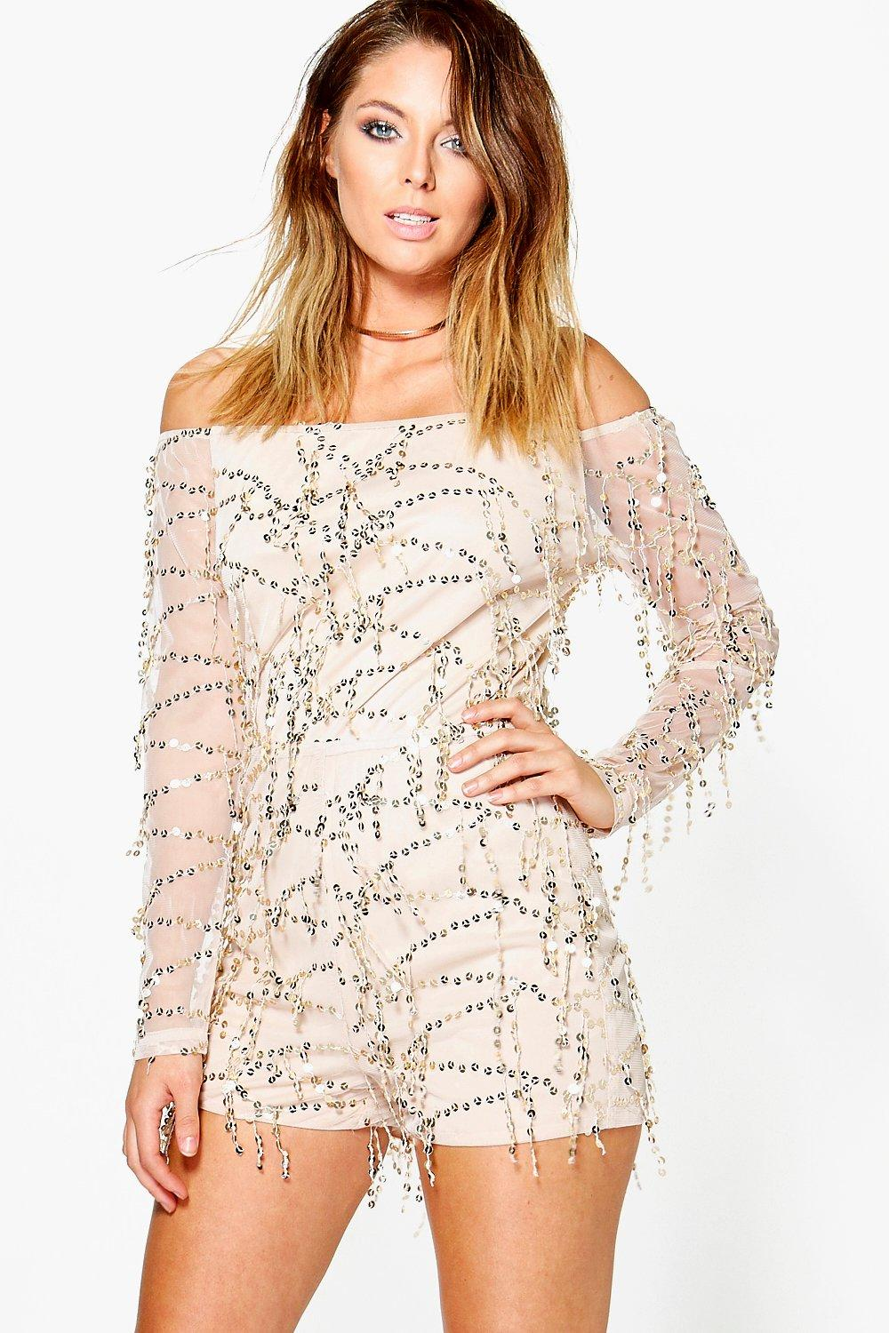 Amy Off The Shoulder Drop Sequin Playsuit
