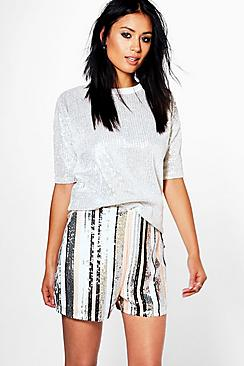 Anna Sequin Striped Shorts