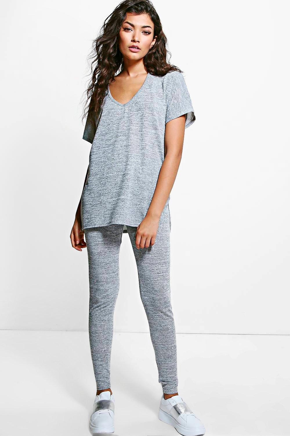 Vanessa V-Neck T-Shirt & Jogger Knitted Lounge Set