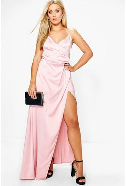 Jordyn Satin Wrap Maxi Dress