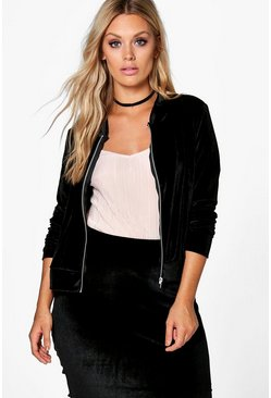 Jordyn Velour Zip Through Jacket