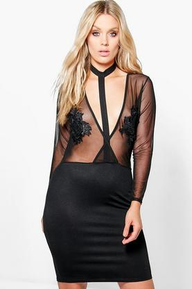 Jordyn Mesh Plunge Harness Detail Bodycon Dress
