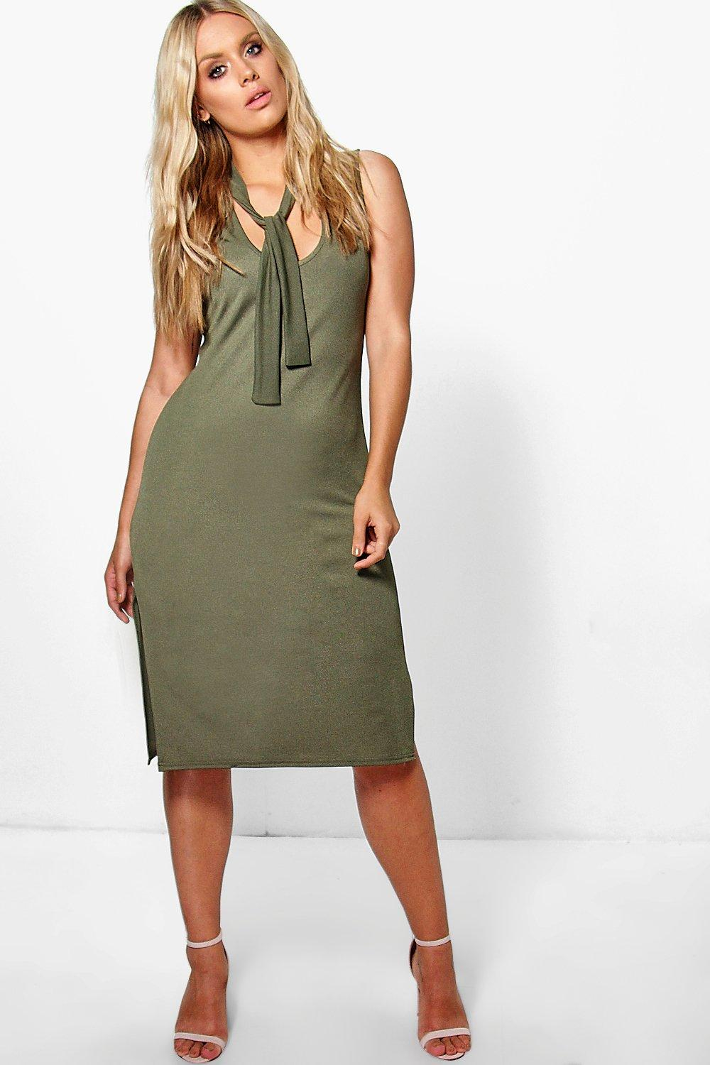 Jordyn Tie Detail Horseshoe Neck Midi Dress
