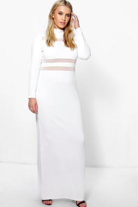 Jordyn Crepe Long Sleeve Mesh Panel Maxi Dress