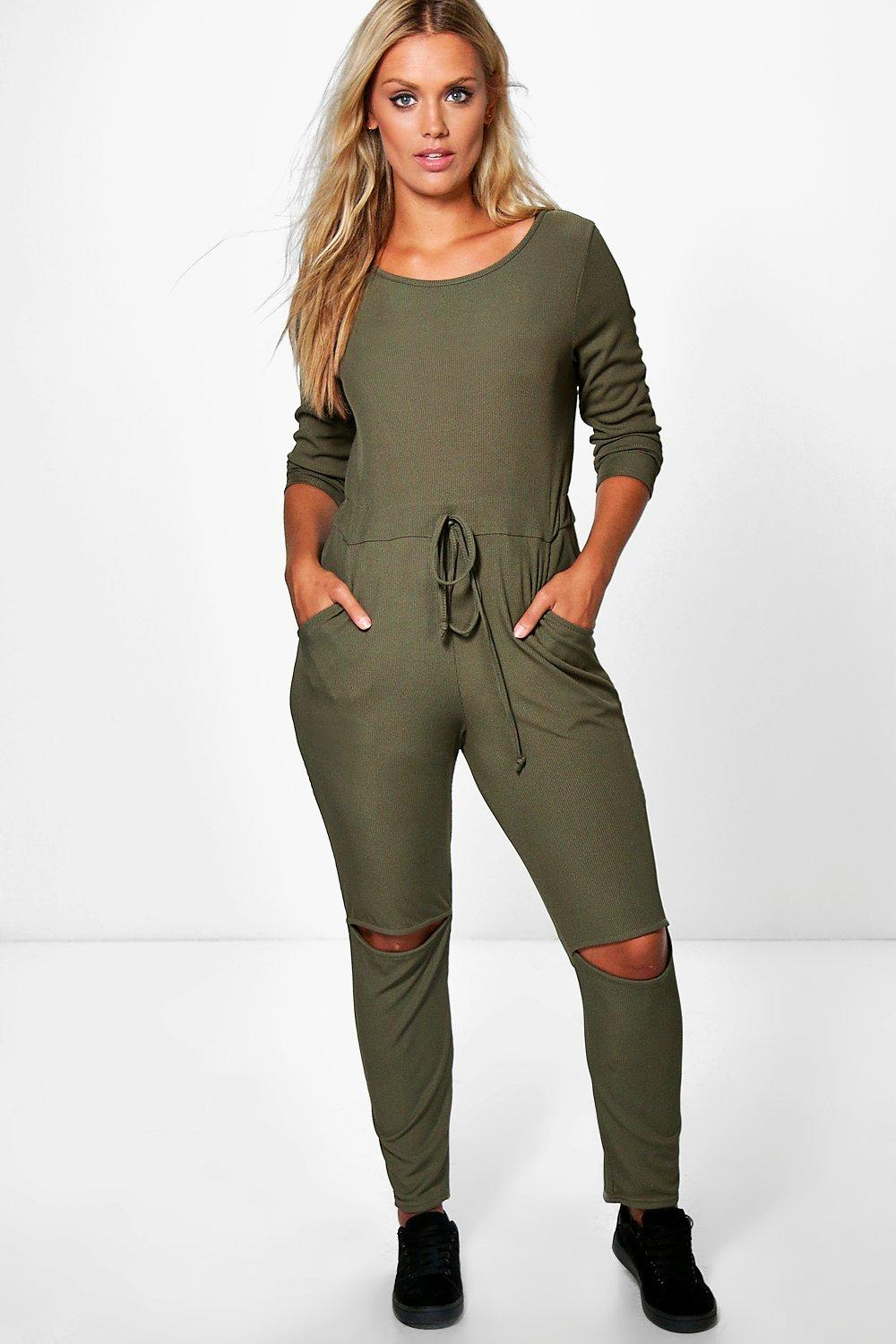 Jordyn Split Knee Rib Jumpsuit