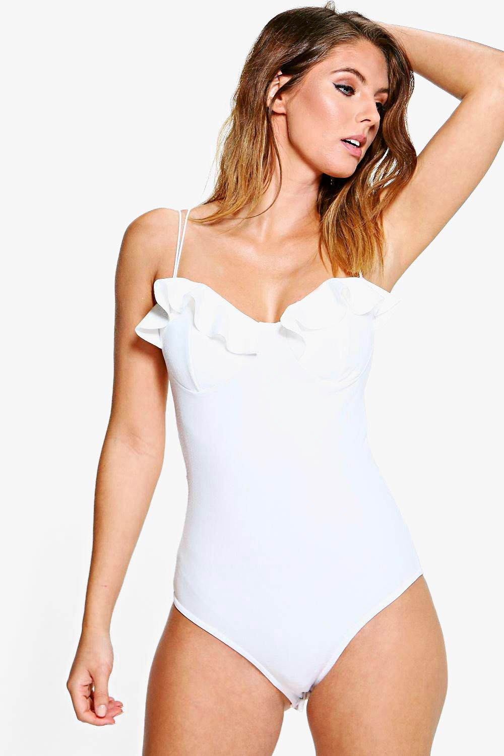 Hailey Strappy Ruffle Detail Crepe Bodysuit
