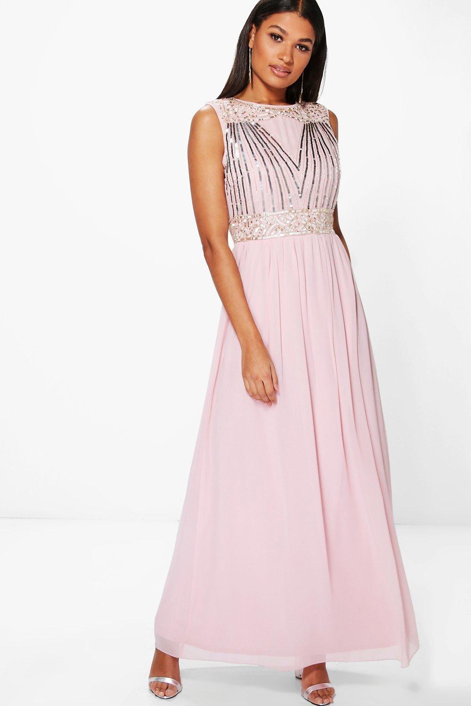 Original  About Boohoo Womens Corin Bandeau Embellished Waist Chiffon Maxi Dress