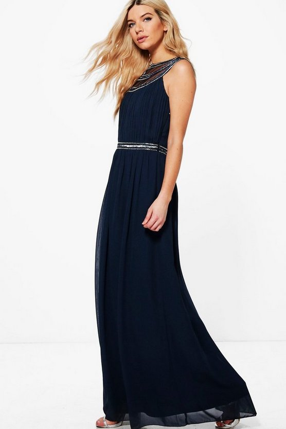 Boutique Lila Embellished Chiffon Maxi Dress