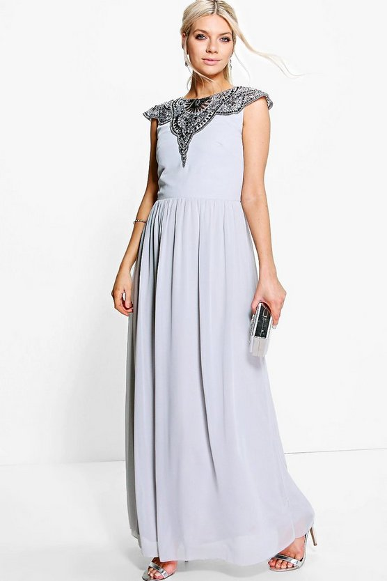 Boutique Elin Embellished Chiffon Maxi Dress