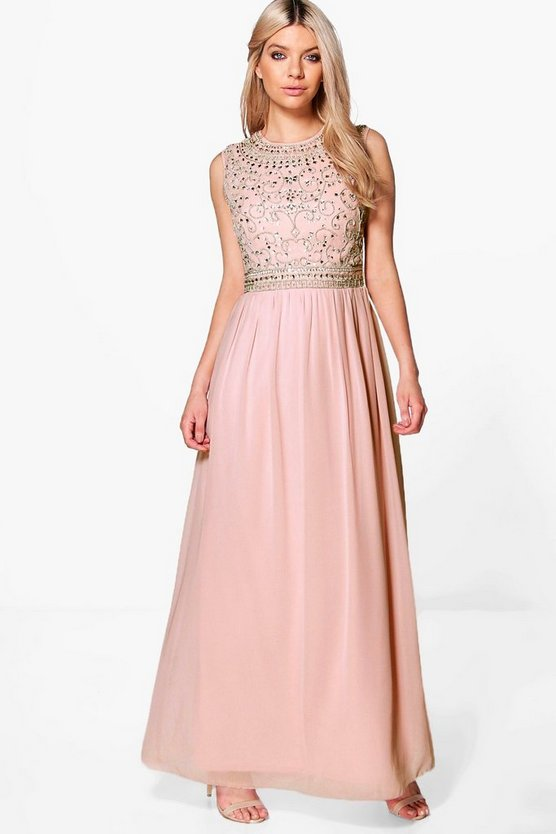 Boutique Isla Embellished Chiffon Maxi Dress