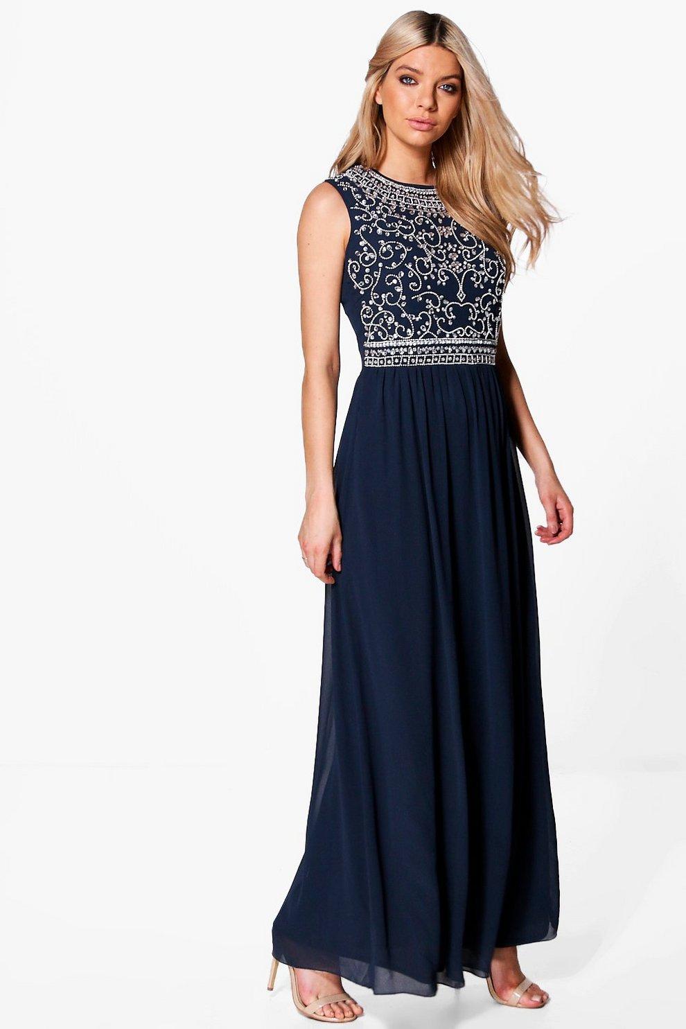 Navy maxi dress boohoo fashion