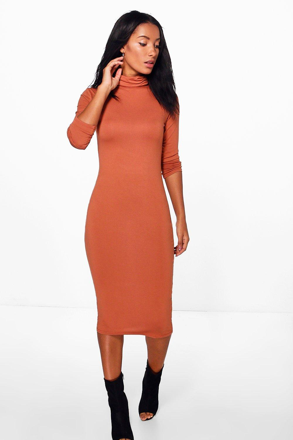 Ciaombhe Roll Neck Midi Dress