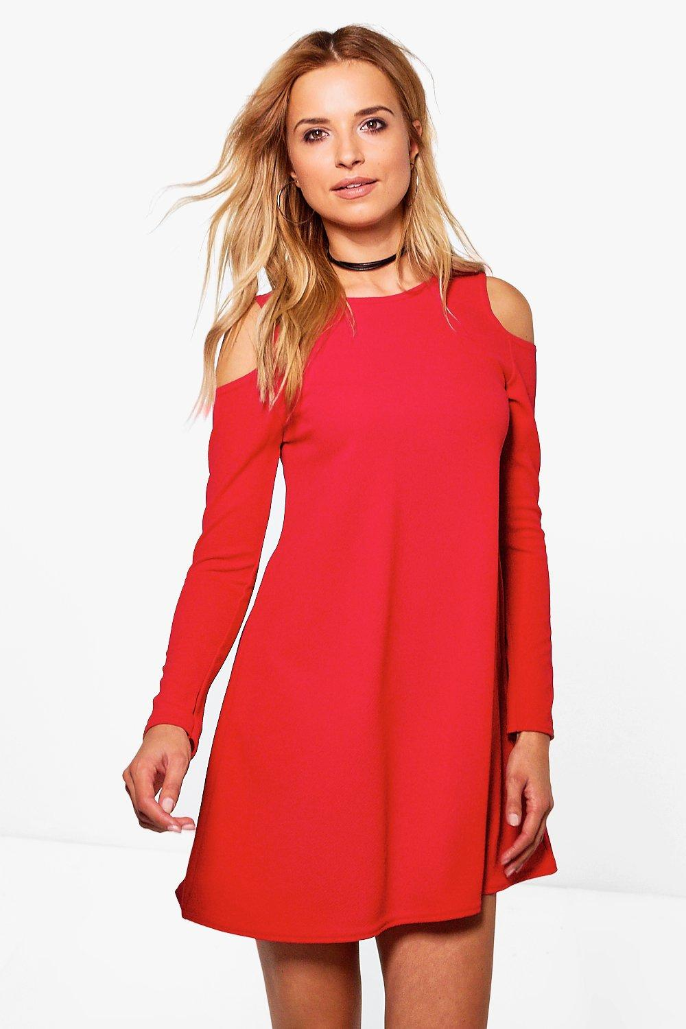 Pearl Crepe Cold Shoulder Swing Dress