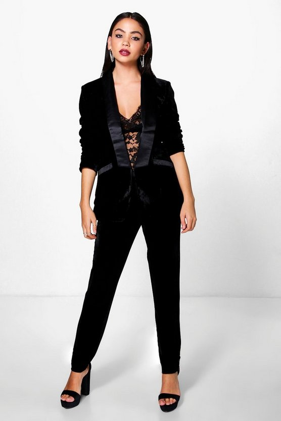 Ella Boutique Velvet Tux Tailored Trouser