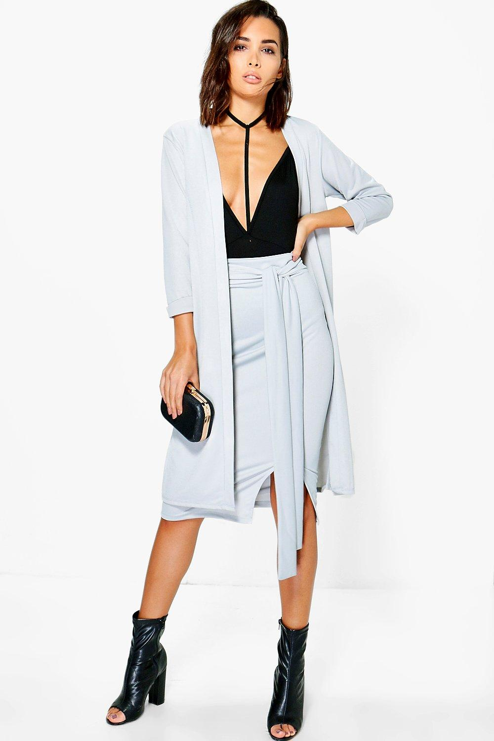 Lola Crepe Midi Skirt & Duster Set