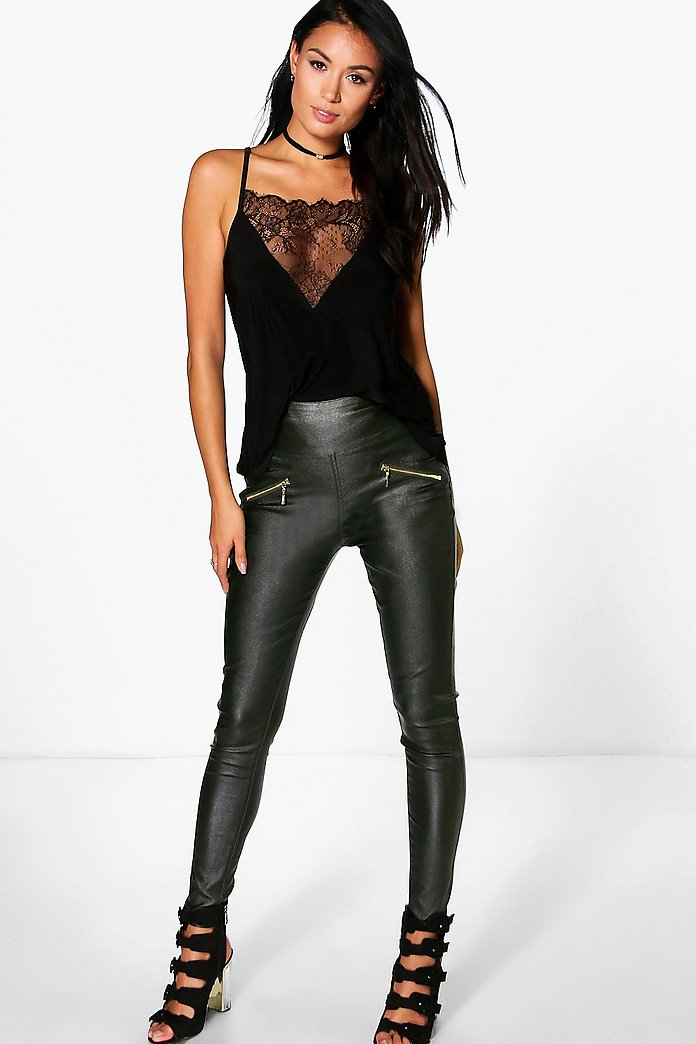 Willow Coated Super Stretch Zip Back Skinny Trousers