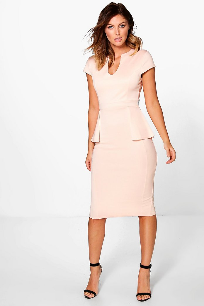 Albany Cap Sleeve Peplum Formal Midi Dress