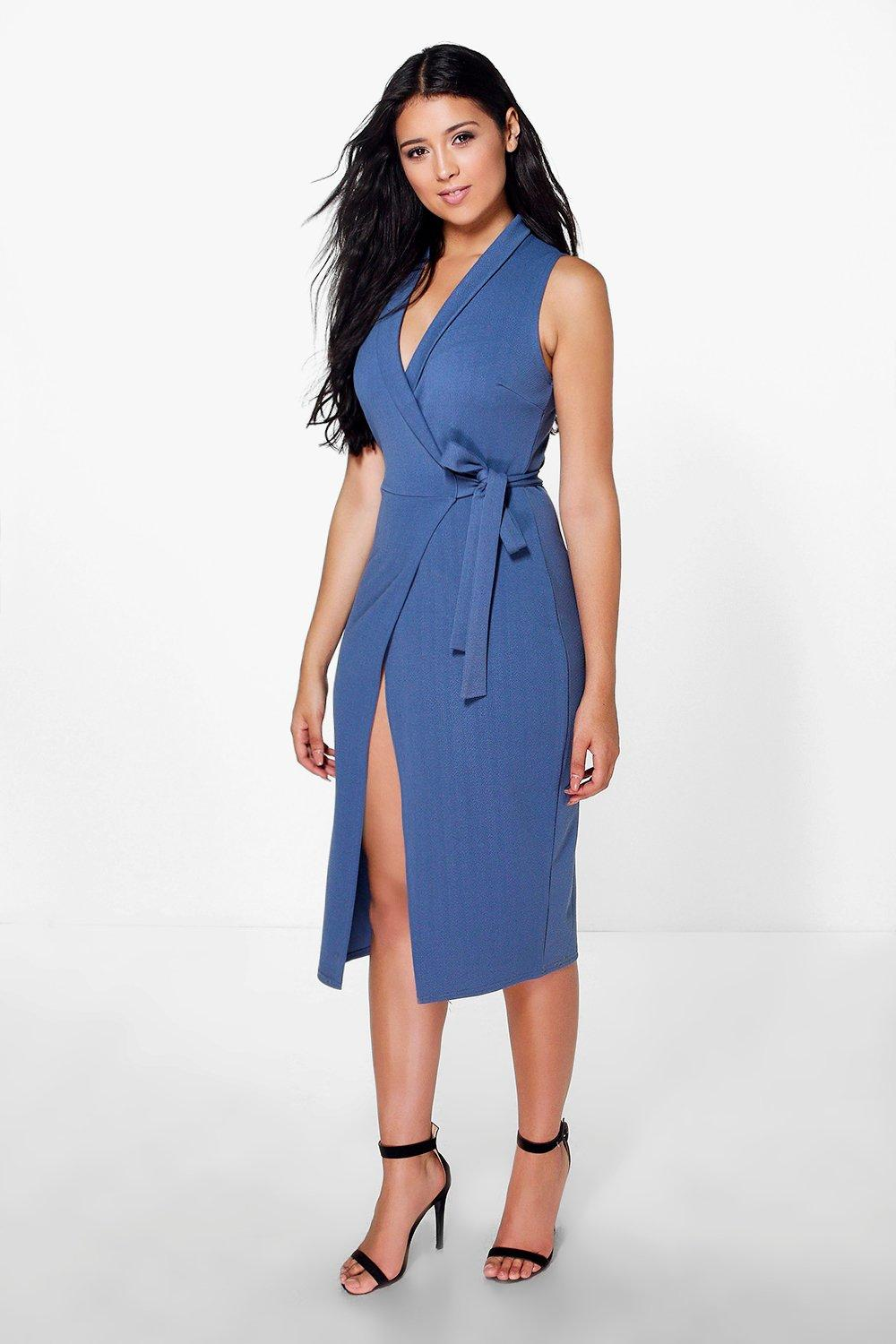 Imogen Tie Wrap Midi Dress at boohoo.com