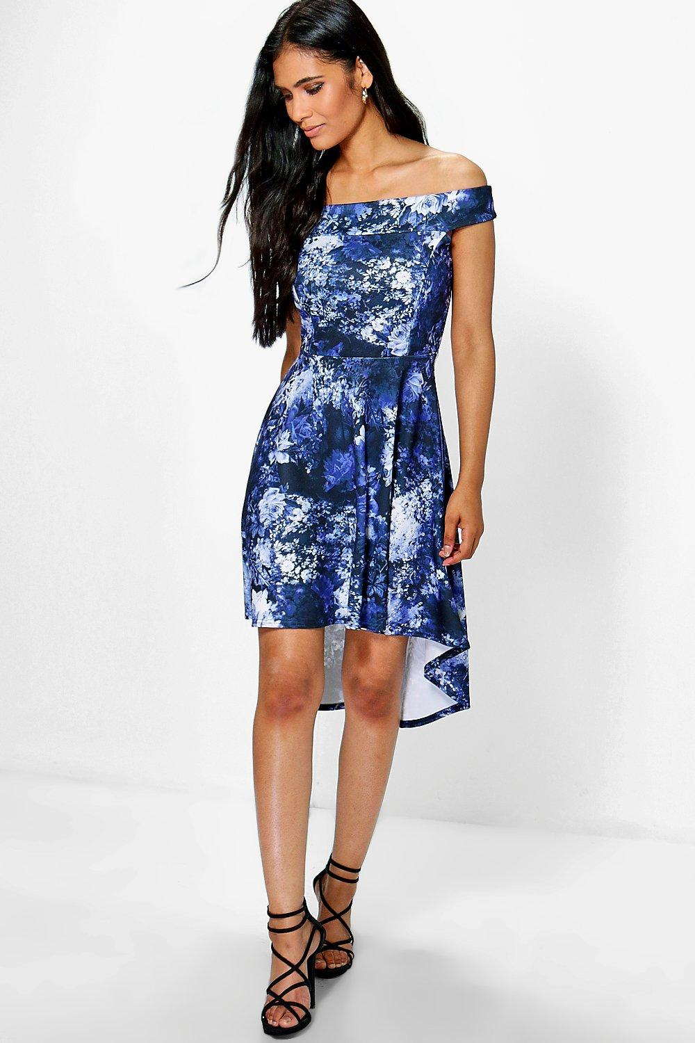 Honest Floral Dip Hem Midi Skater Dress