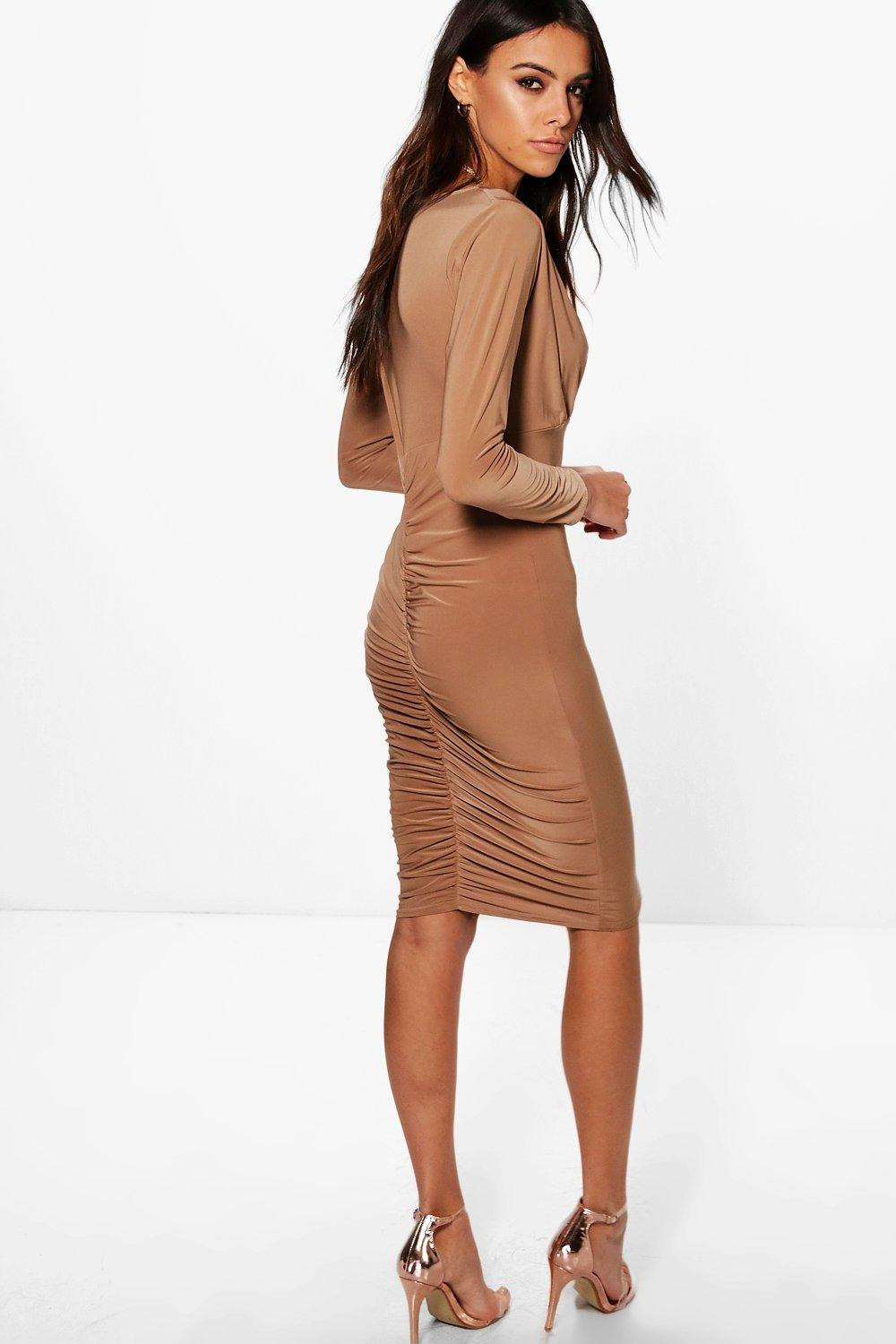 Hester Wrap Top Ruched Back Midi Dress