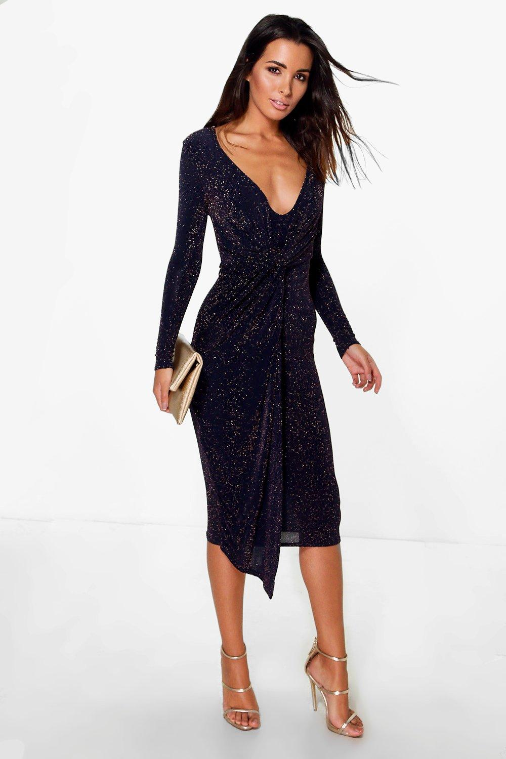 Finola Metallic Drape Wrap Midi Dress