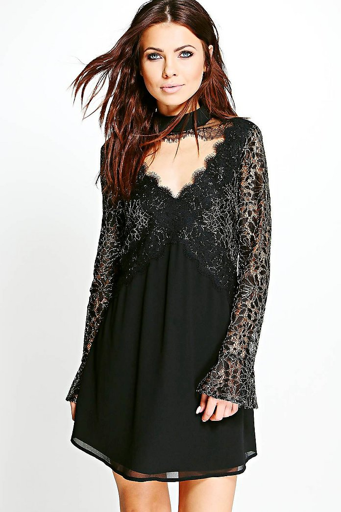 Deanna Boutique Lace Front Swing Dress