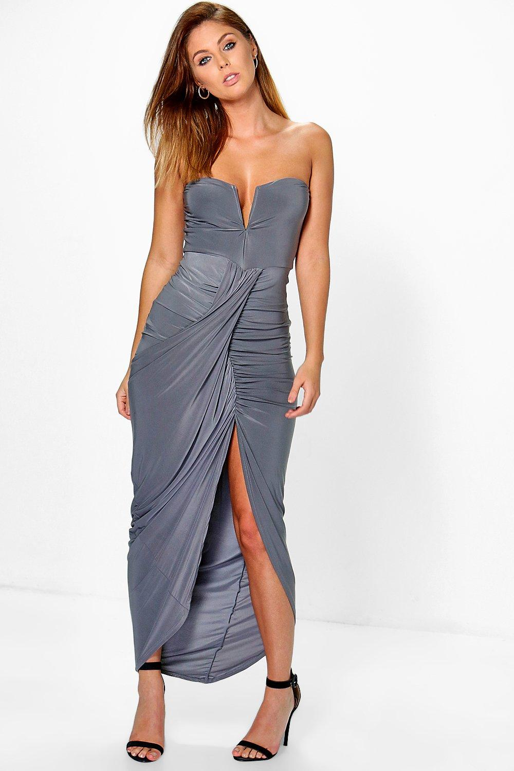 Dory Slinky Wrap Drape Bandeau Maxi Dress