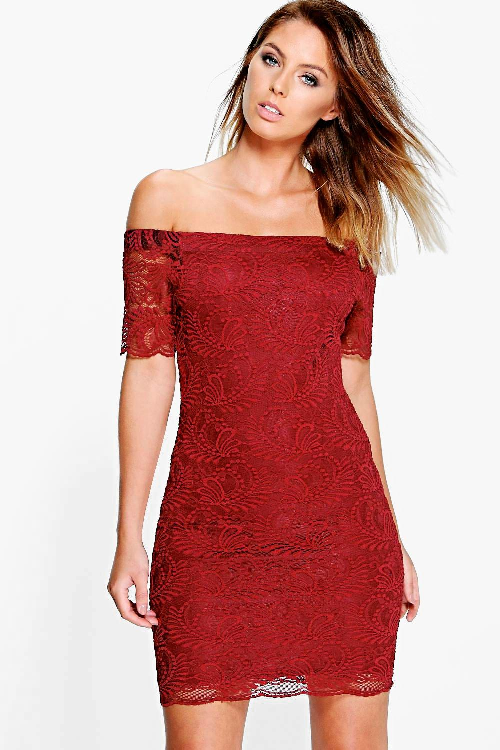 Ayn Scallop Lace Off Shoulder Bodycon Dress