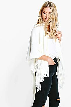 Anya Soft Knit Fringe Cape Cardigan
