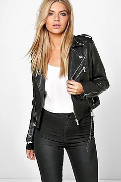 Savannah Crop Leather Look Biker Jacket