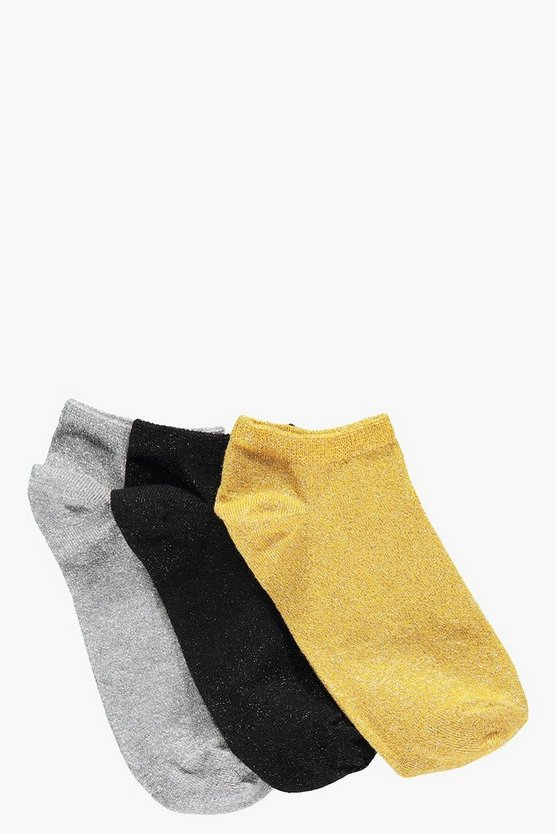 Aimee Glitter Trainer Socks 3 Pack
