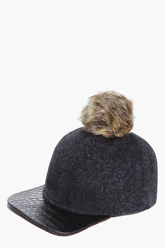 Skye Detachable Faux Fur Pom Baseball Cap