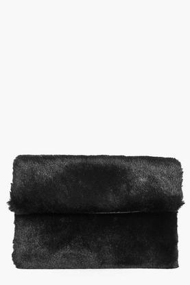 Daisy Faux fur Fold Over Clutch Bag
