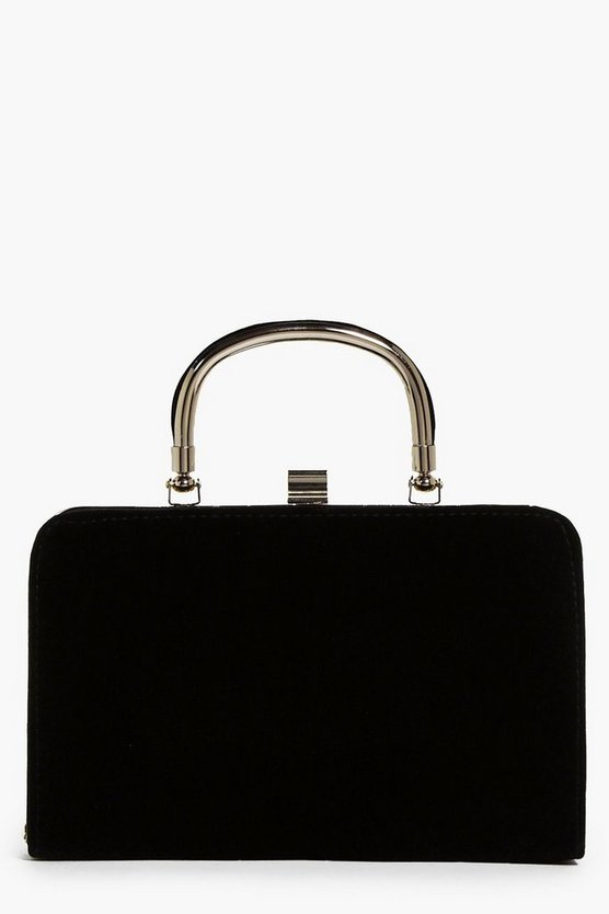 Ella Handle Detail Velvet Box Clutch