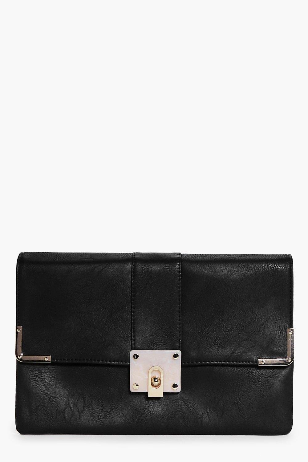 Marble Clasp Detail Clutch Bag black
