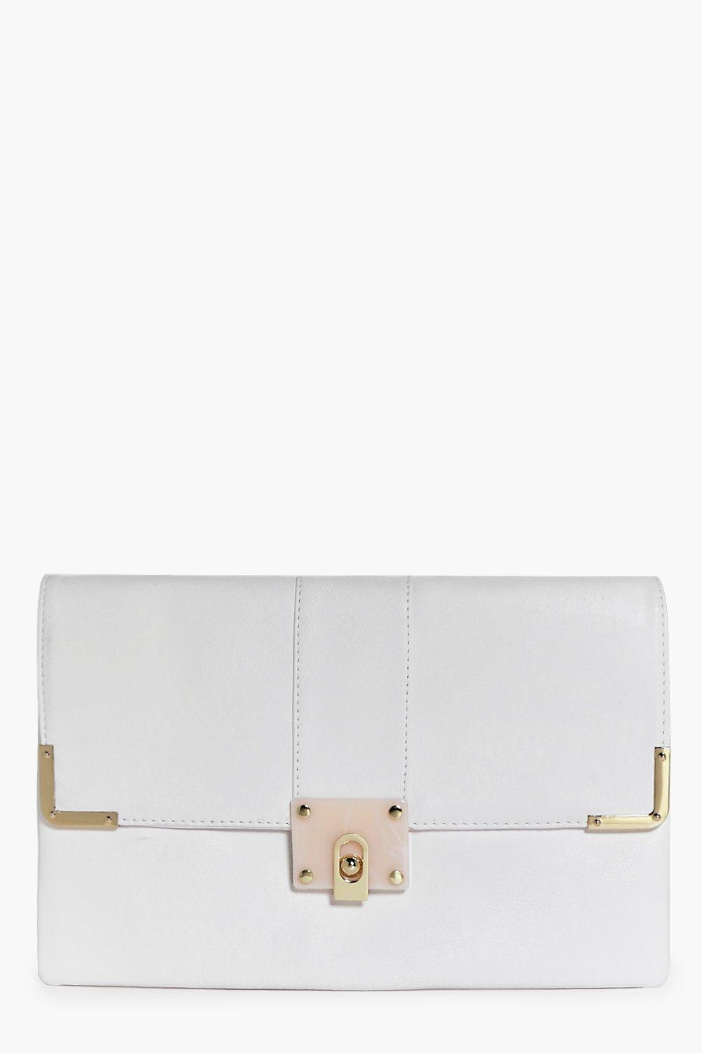 Marble Clasp Detail Clutch Bag white