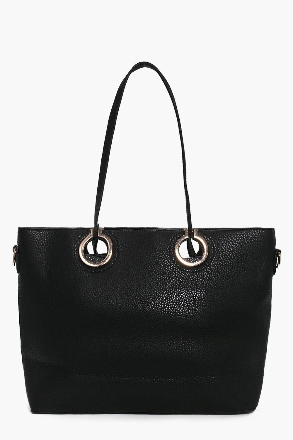 Metal Ring Detail Large Day Bag black
