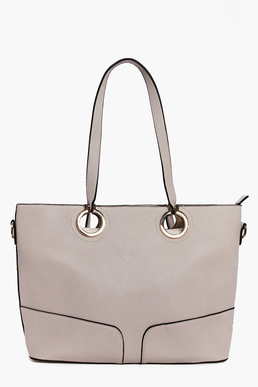 Metal Ring Detail Large Day Bag cream
